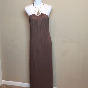 SKY Maxi Halter Dress Jersey Knit Gown Gem Collar